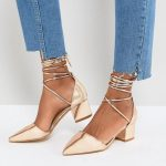 Gold Ankle Tie Block Heeled