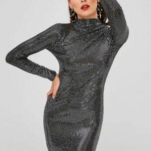 Vestido De Lantejoulas Com Gola Alta – Preto