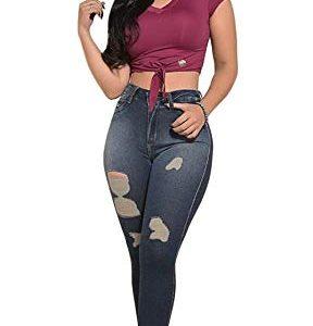 Calça jeans roupas femininas rasgada super skinny