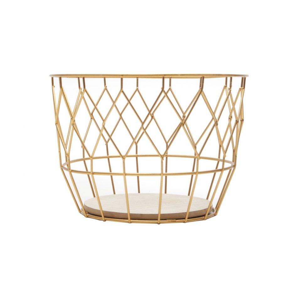 Cesto em Metal Gold Net Urban Dourado