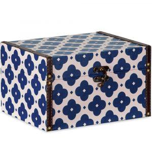 Caixa Baú Decorativa Azul e Bege – Grande