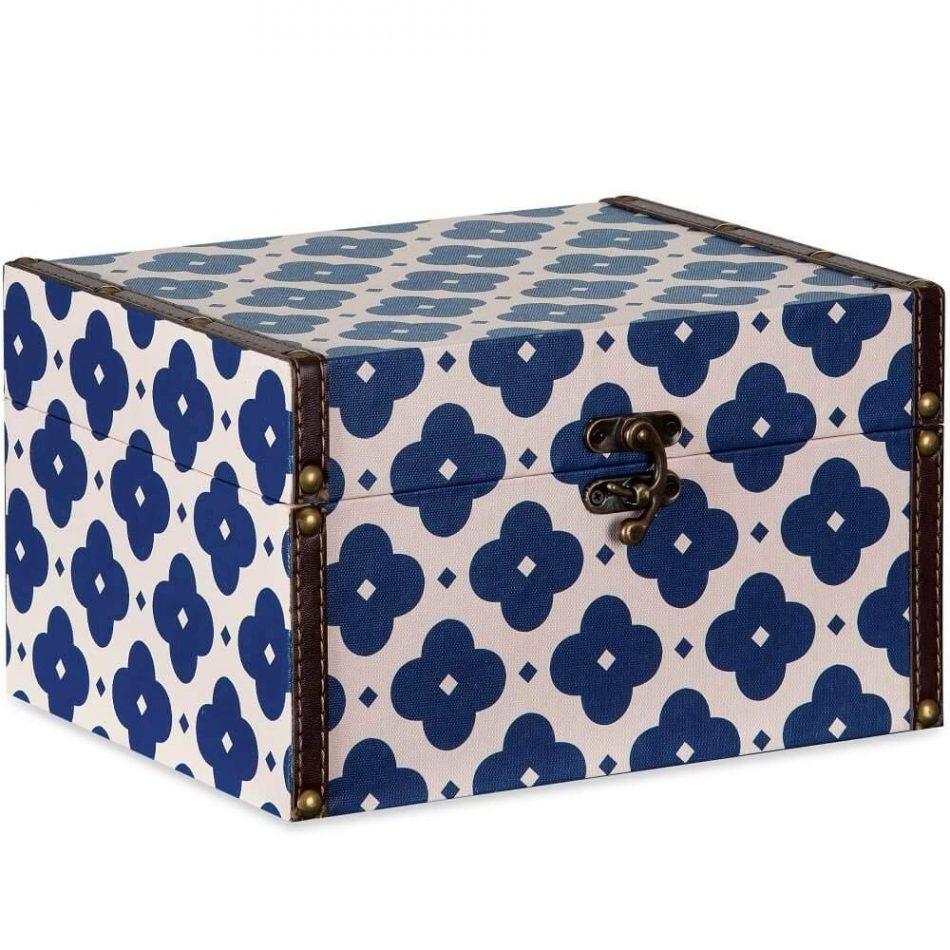Caixa Baú Decorativa Azul