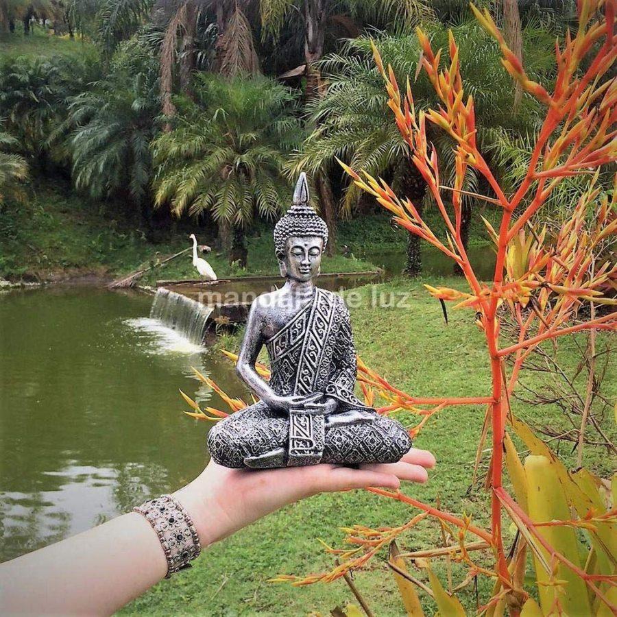 Estátua de Buda Hindu Resina Prateado 19,5cm