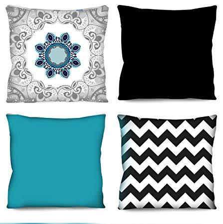 Conjunto de almofadas Mandala azul e cinza 4 Peças 42×42