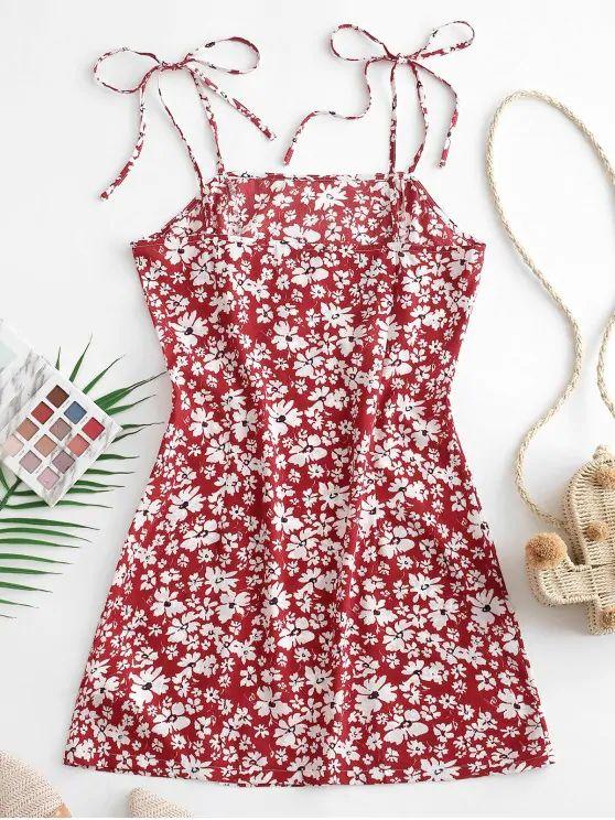 Vestido floral de alça