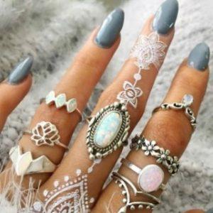 8 aneis de pedras – prata bijuteria