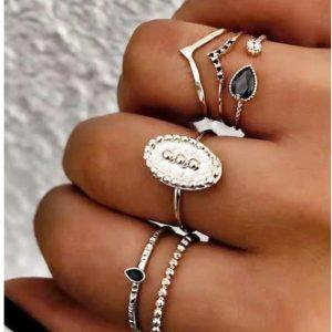 6pcs Forma V Rhinestoned Metal Anéis Conjunto – Prata