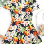 Mini vestido flor e limão