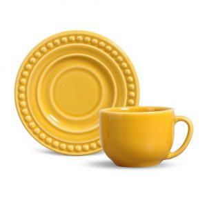 Xícara de Chá com Pires Atenas Mostarda