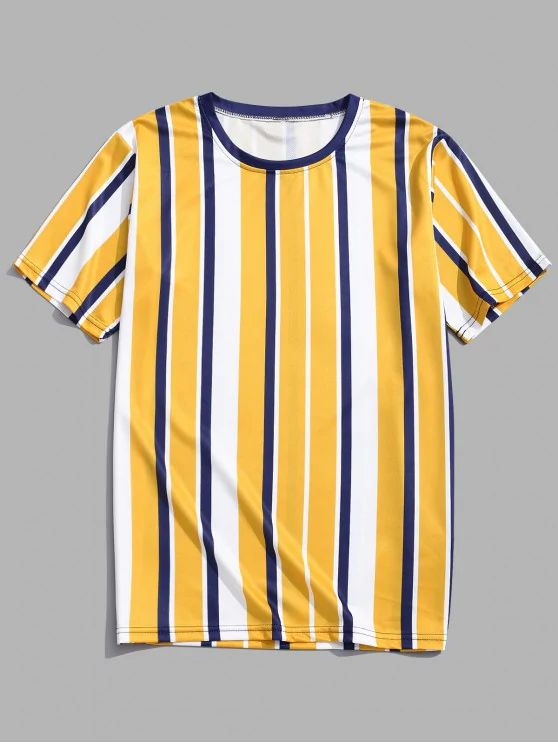 Camiseta listrada- amarela azul e branca