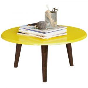 Mesa de Centro Brilhante Amarela