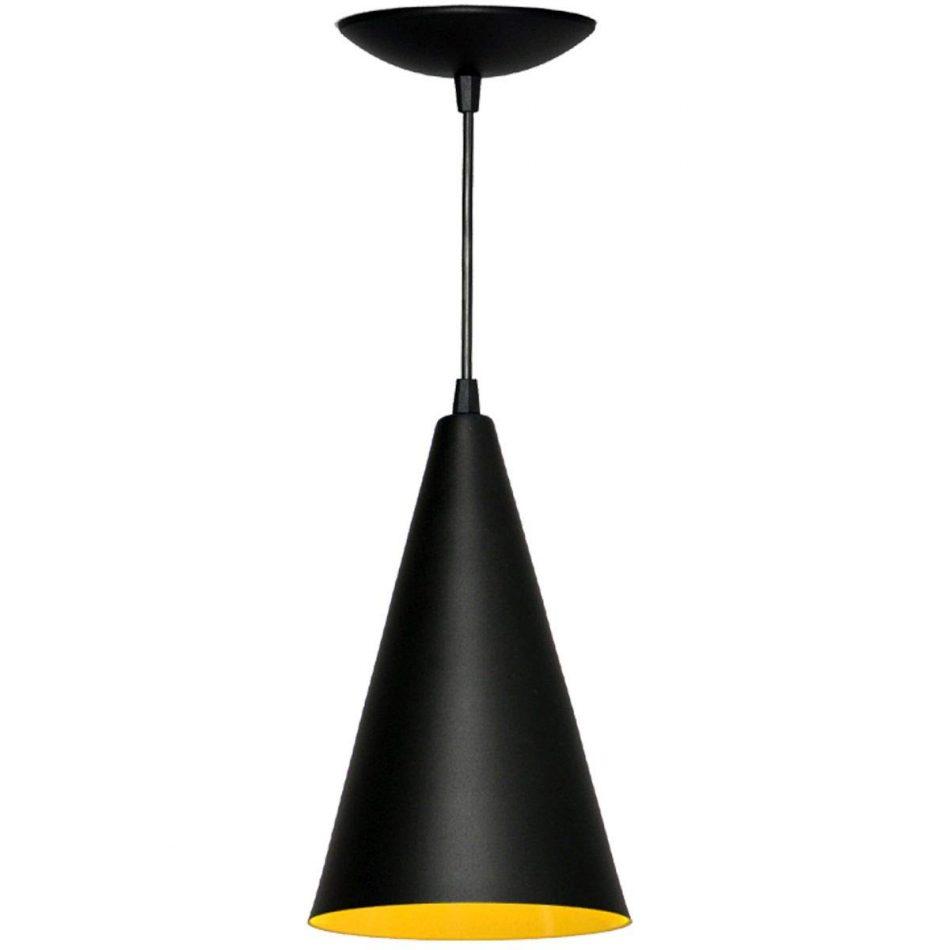 Pendente Cone Preto Textura/Amarelo