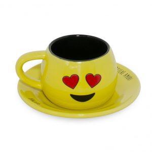 Conjunto Xícara/Pires Tropeiro Amor 150ml J4442 Amarelo – Mondoceram