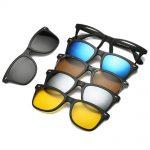Armação De Óculos Com Lente Transparente + 5 Lentes Clip On De Sol