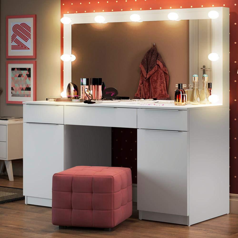 Penteadeira Camarim com Espelho 3GV 2PT Branco