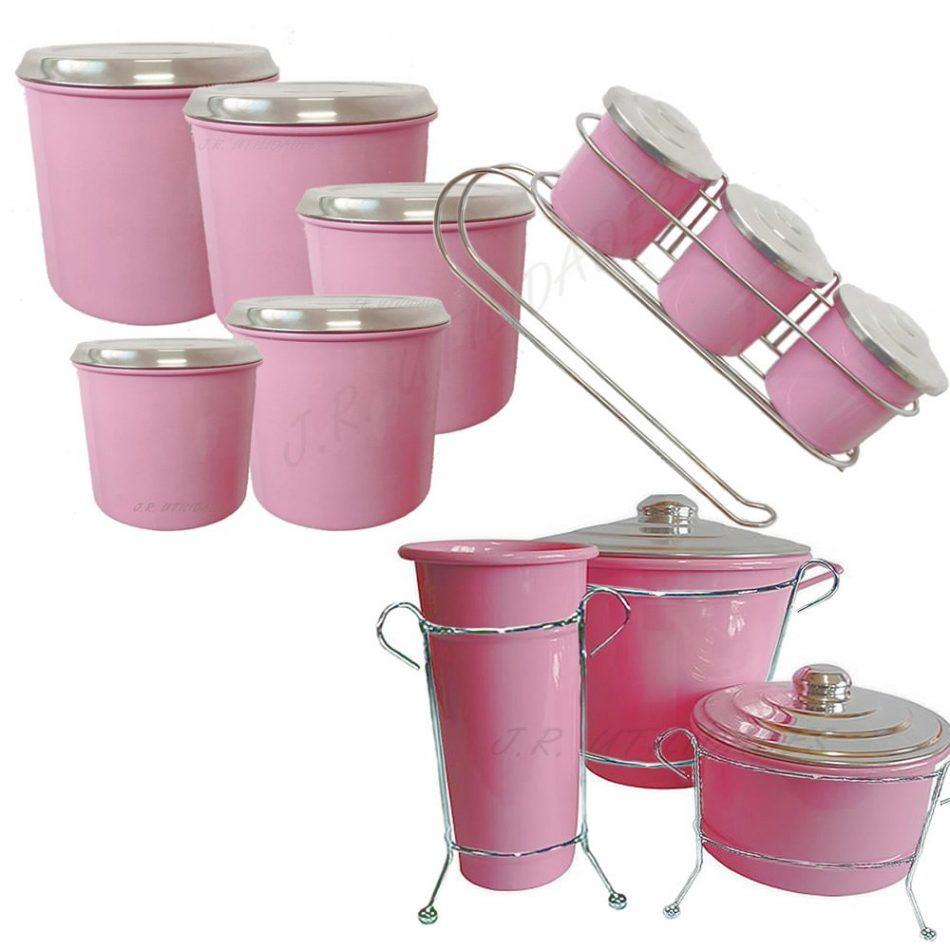 Kit de pia Com Suporte Mantimento Condimento Aluminio (ROSA COLOR)