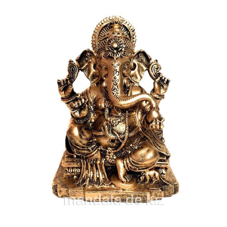 Estátua de Ganesha Sentado Dourado Resina 13cm