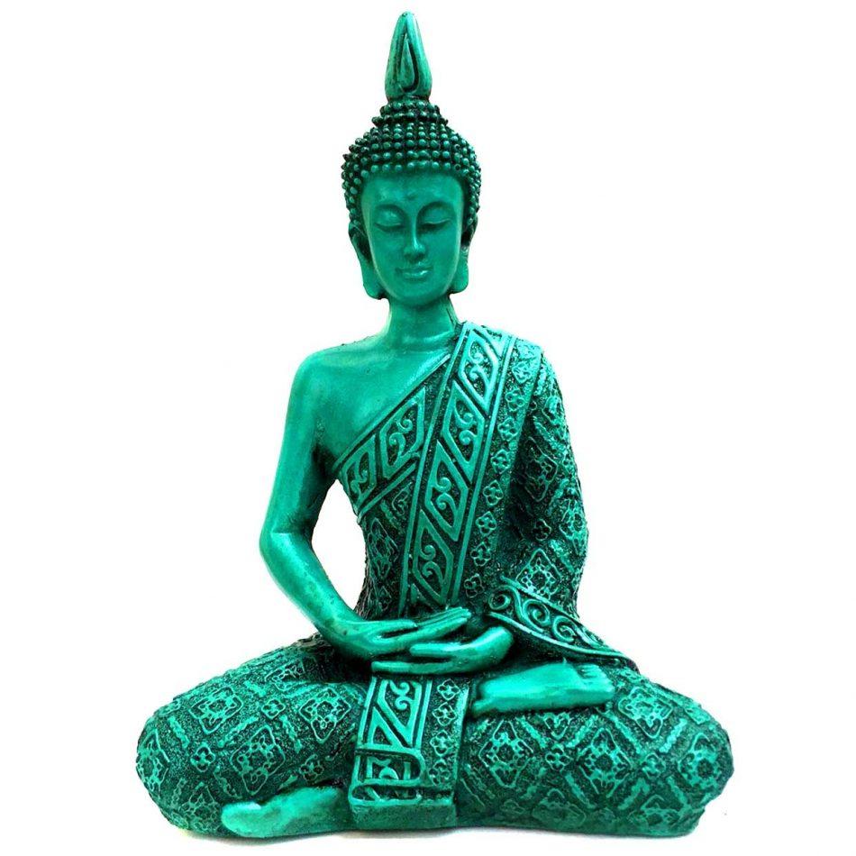 Estátua de Buda Hindu Resina Verde 19,5cm