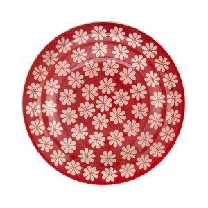 Conjunto com 6 Pratos Fundo Oxford Daily Floreal Renda Branco/Vermelho 23Cm