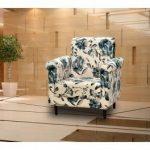 Poltrona Decorativa Suede Matrix – Azul estampado