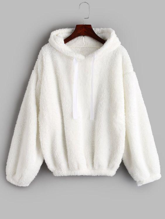 Blusa com capuz -Branca tumblr