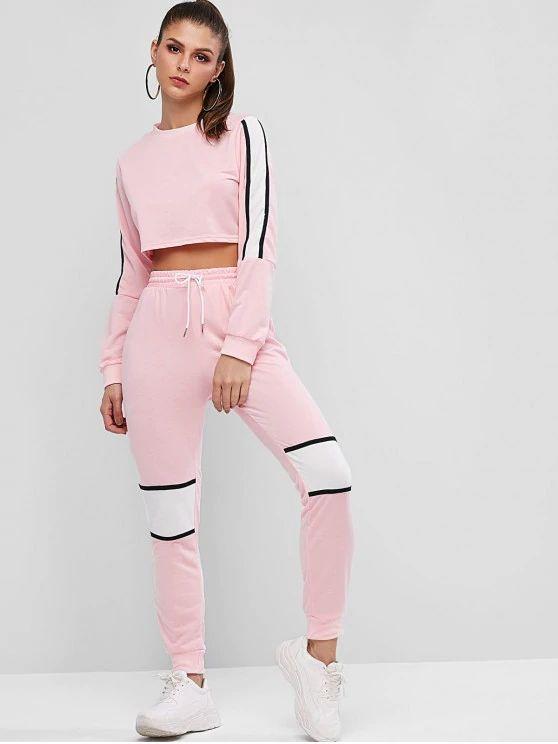 Conjunto rosa com listra