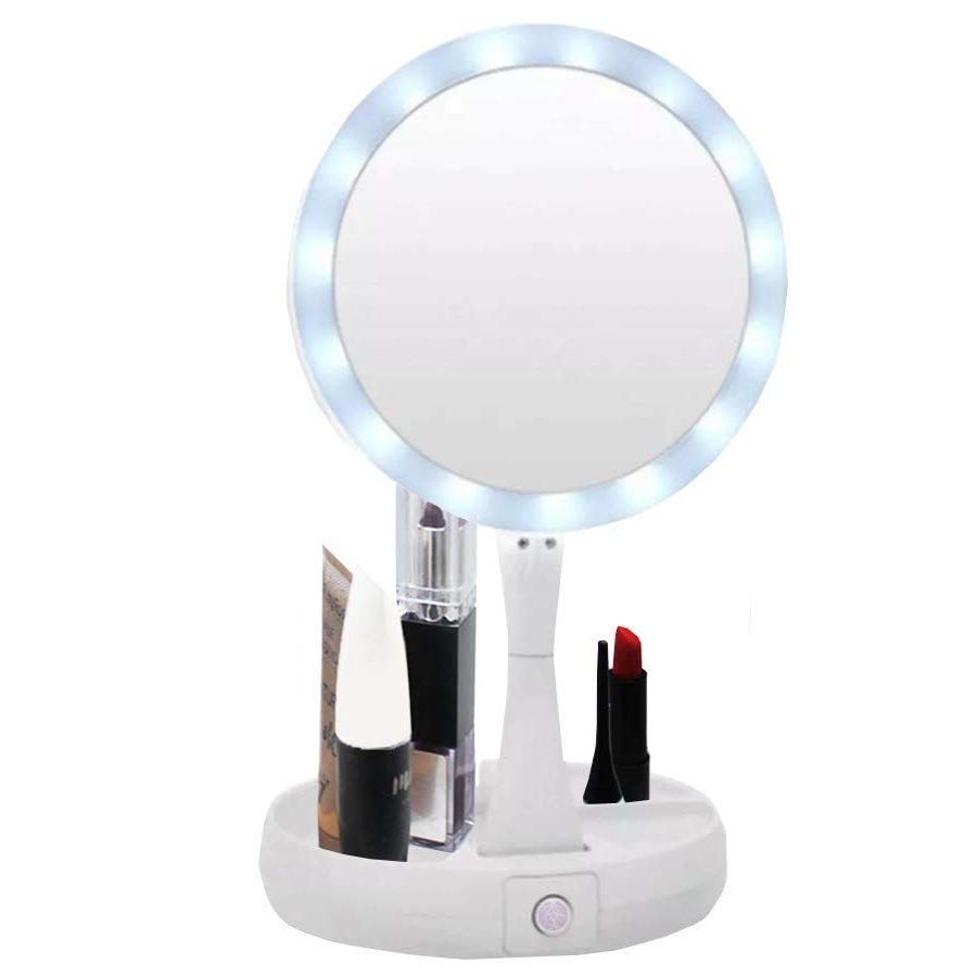 Espelho Maquiagem Led Articulavel 2 Lados Ampliacao Camarim