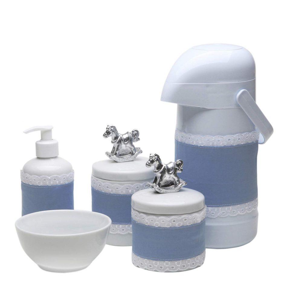 Potes, Garrafa, Molhadeira e Porta Álcool-Gel com Capa Cavalinho, Potinho de Mel, Azul