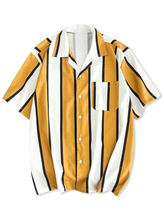 Camisa listra amarela e branca