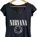 Camisetas Nirvana Rock Música feminino preto