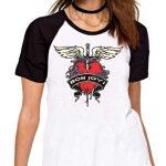 Camiseta Fem Raglan Bon Jovi Logo