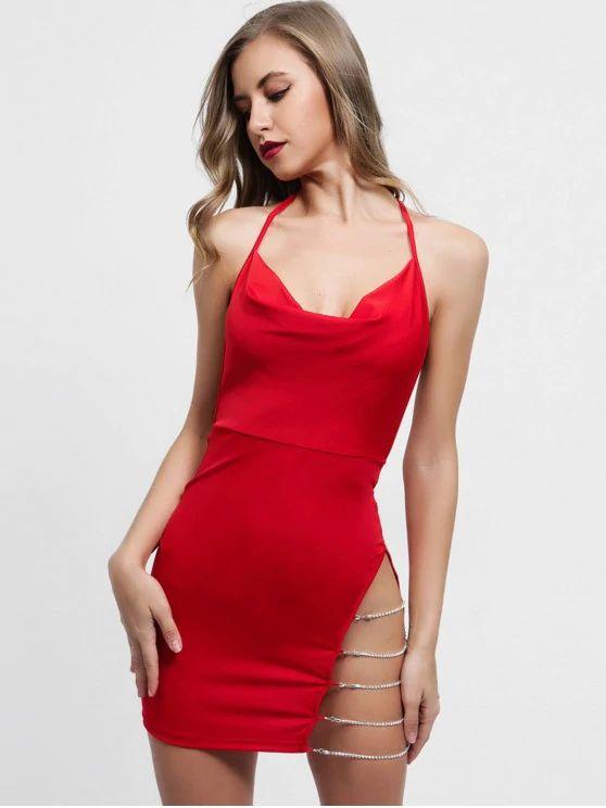 Vestido  de fenda vermelho