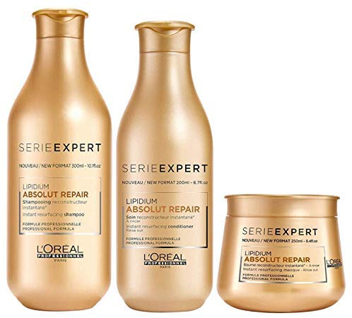 L'Oréal Absolut Repair Lipidium Shampoo (300ml), Condicionador (200ml) E Máscara (250ml)