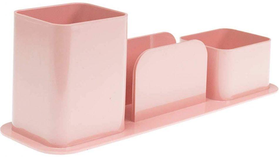 Porta Canetas Triplo, Dello, 3031.W.0012, Rosa Pastel
