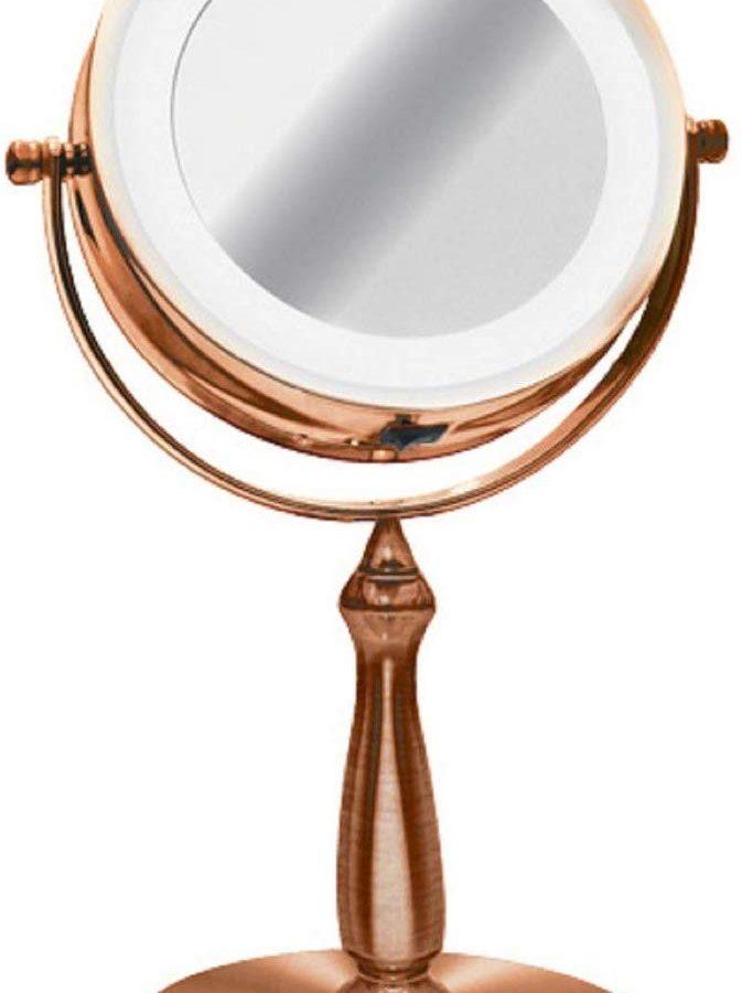 Espelho De Mesa Bronze Luz