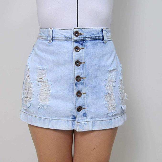 Saia Jeans destroyed com botões cor azul ZK tamanho:42