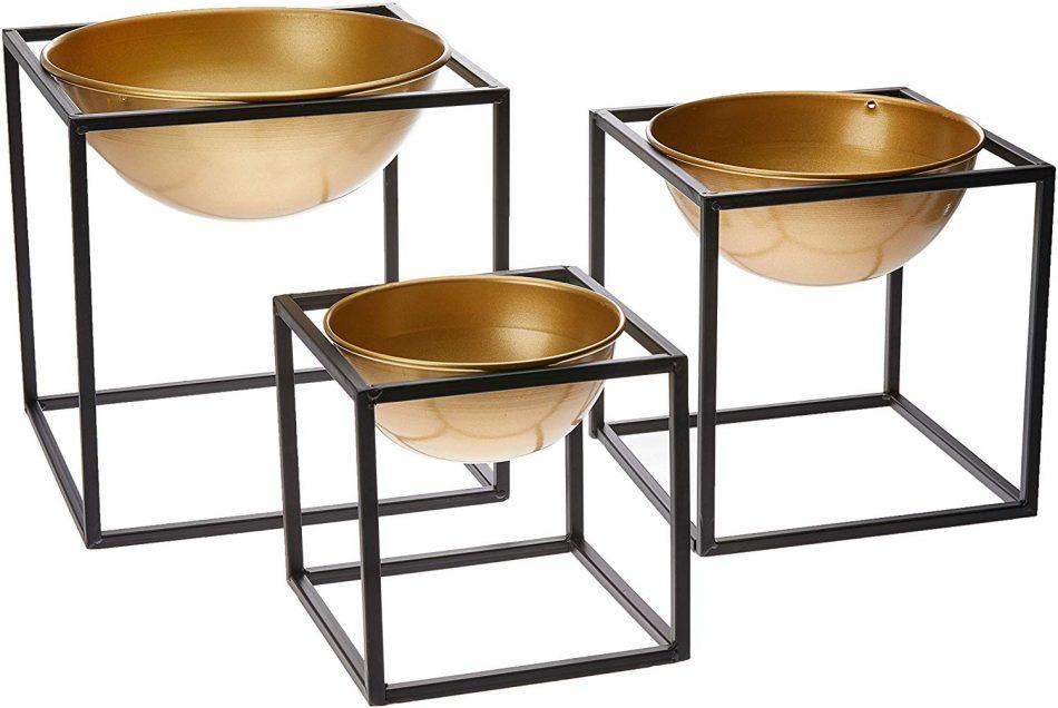 Kit Vaso em Metal com Suporte 3 Peças,  Dourado