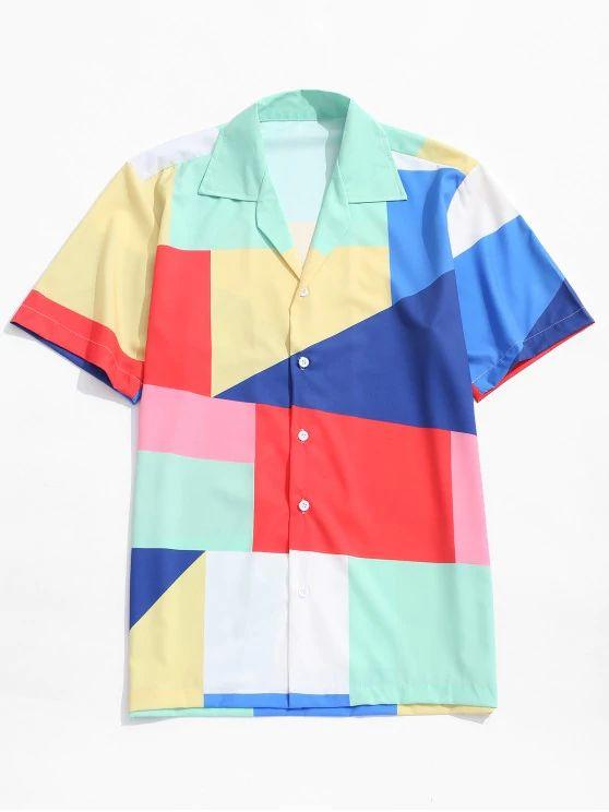Camisa estampa formas geométricas coloridas