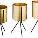 Kit Cachepot Dourado Em Metal Com Suporte 3 Peças Dourado