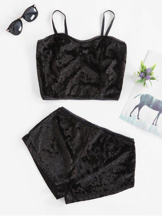 lingerie top e short – preto