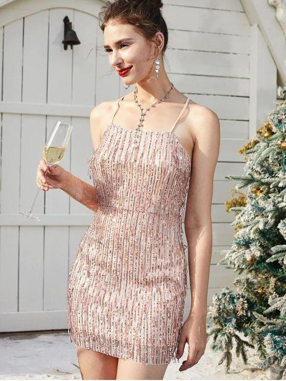 Vestido lantejoula cor champanhe