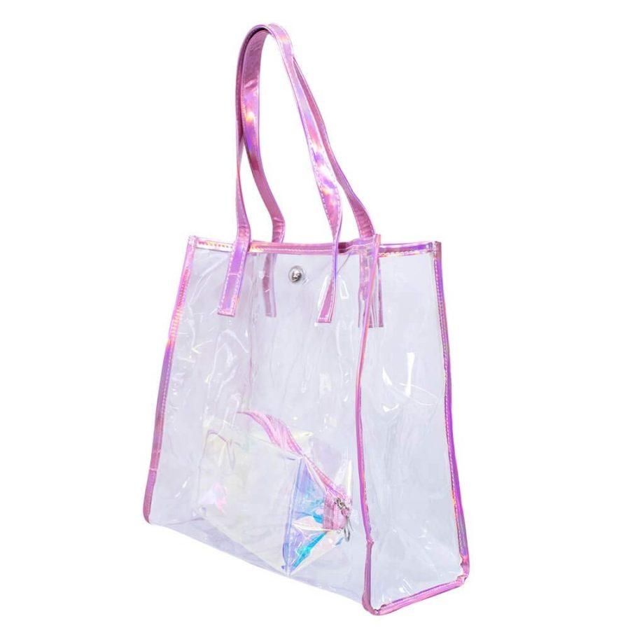 Bolsa Com Necessaire Transparente Rosa 30x13x31cm