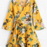 Vestido envelope amarelo floral