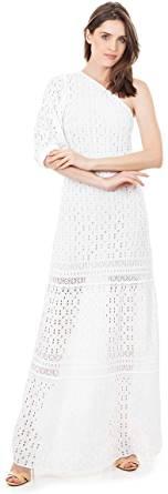 Vestido Longo de Tricot Bella Store Tricot Ombro Único Manga Bufante Feminino