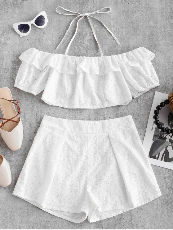 Conjunto cropped e short branco