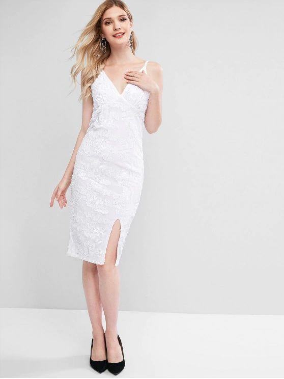 Vestido justo de fenda branco