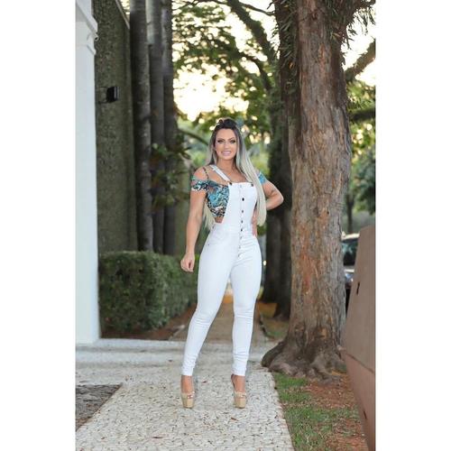 Jardineira Jeans Skinny Branca