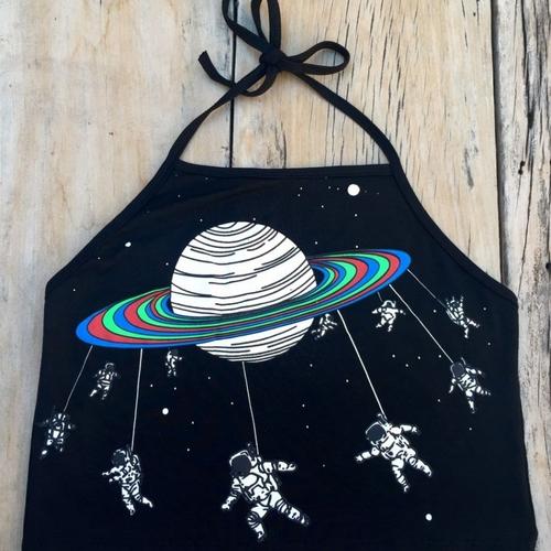 Cropped Frente Única Saturno – Astronautas Preto Único