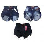 Kit 3 Shorts Jeans Feminino Cintura