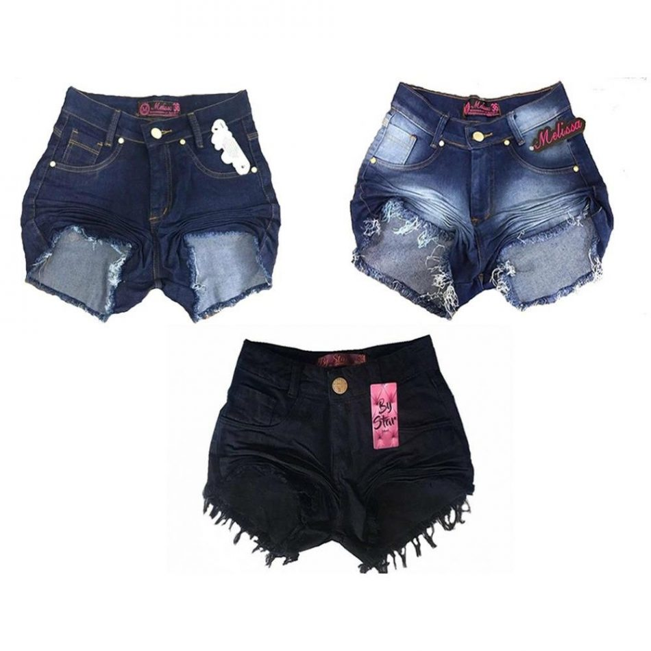 Kit 3 Shorts Jeans Feminino